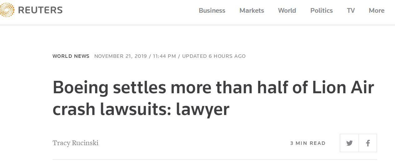 波音超过50%的狮航空难诉讼已完结