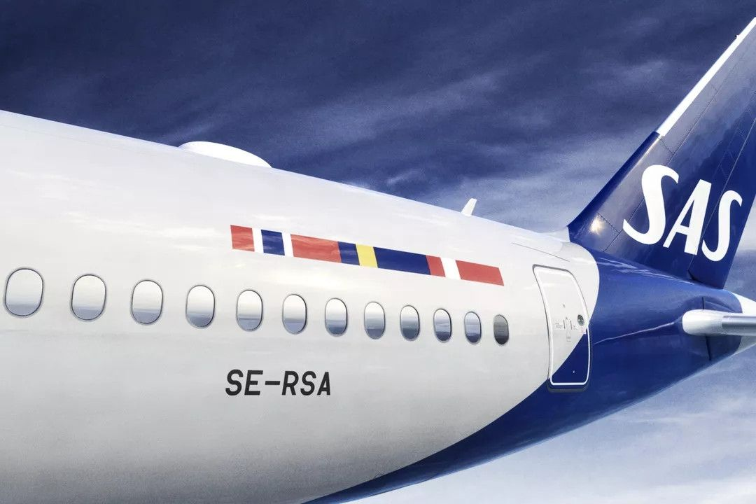 北欧航空21年来首次更换飞机涂装 摄影:北欧航空微信