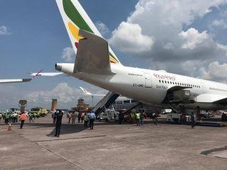 埃塞航最新一架A350客机遭土航A330货机刮蹭受损 (摄影:推特)