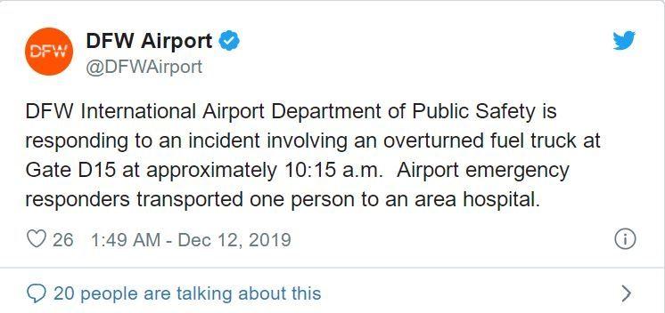 视频:美国达拉斯机场一油罐车翻车致部分航班延误