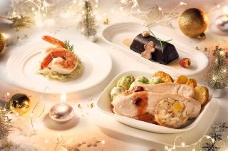 Emirates' Christmas meal for first and business classes