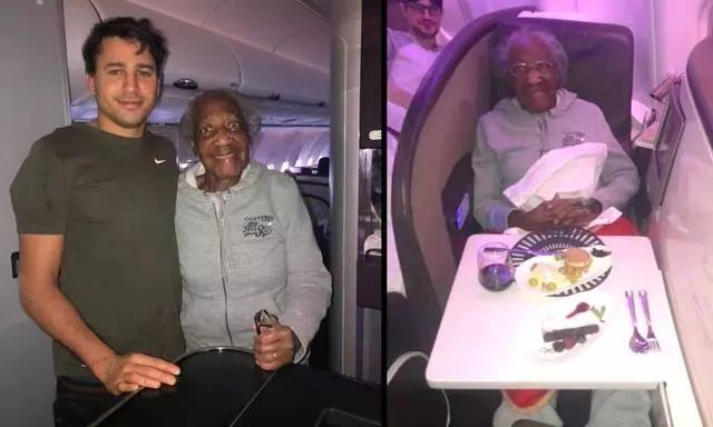 国际航班男子把头等舱让给88岁老太太 自己坐经济舱7小时