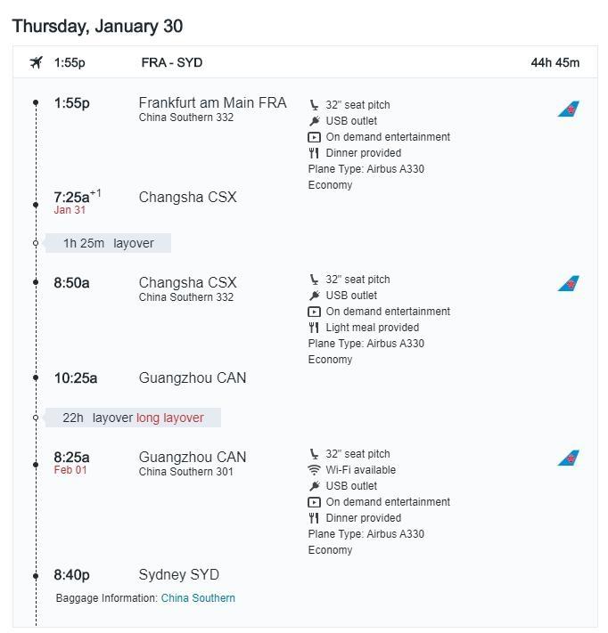 Kayak机票预定页面截图