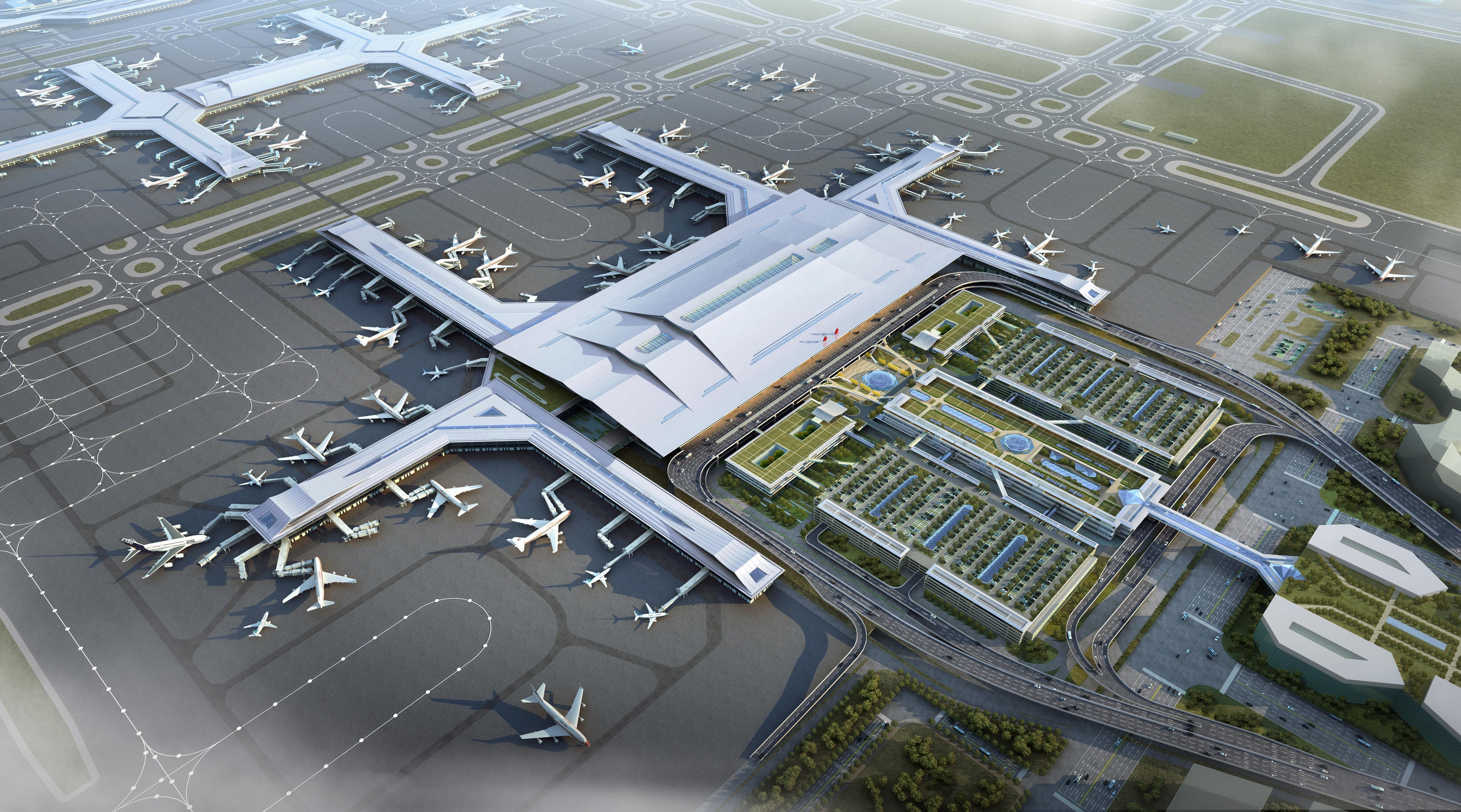 西安咸阳机场鸟瞰图