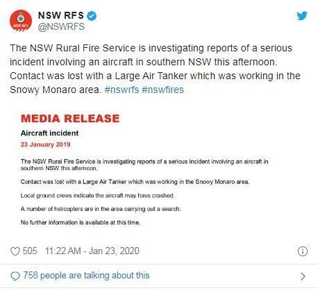 新南威尔士农村消防局官方说明。图片来源:社交媒体账号截图。