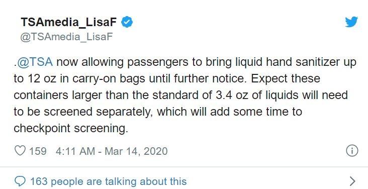 美國TSA:疫情期間旅客可攜帶不超過354毫升的洗手液