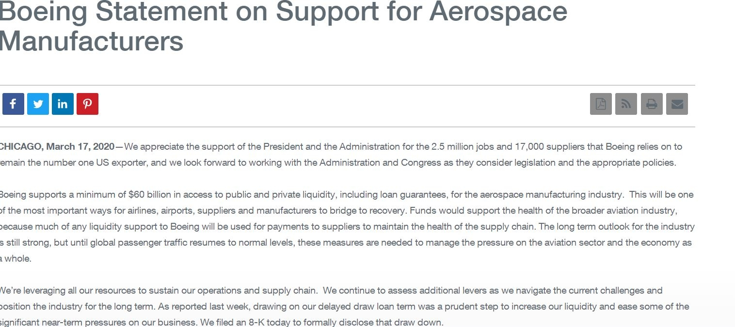 波音呼吁美国政府向航空业提供600亿美元援助
