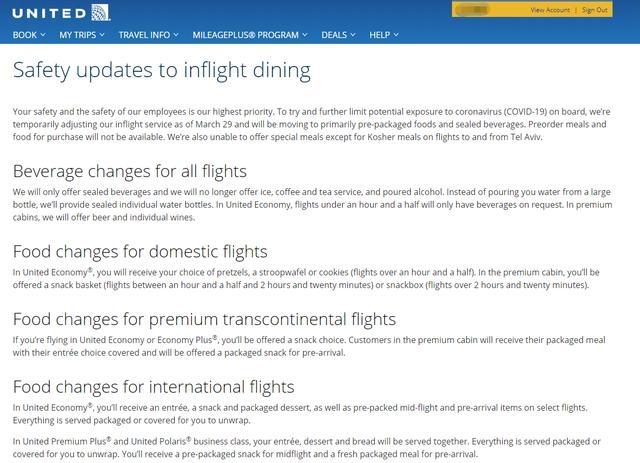 美联航宣布降标机上服务,洲际航线仅提供盒饭