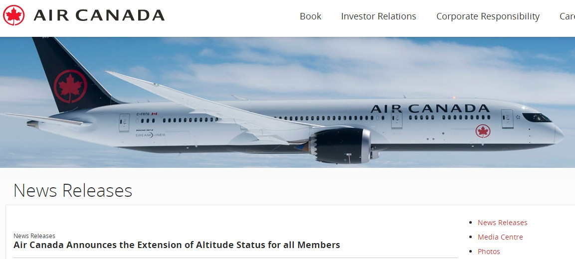 加拿大航空官网截图