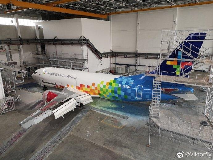 郑州本土航司中州航空首架733货机B-2119喷涂