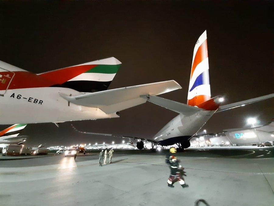 刚接收9个月!英航首架A350与阿联酋航空777发生地面擦撞事故