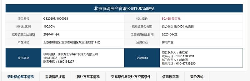 首都机场集团拟8.04亿元转让北京京瑞大厦100%权益