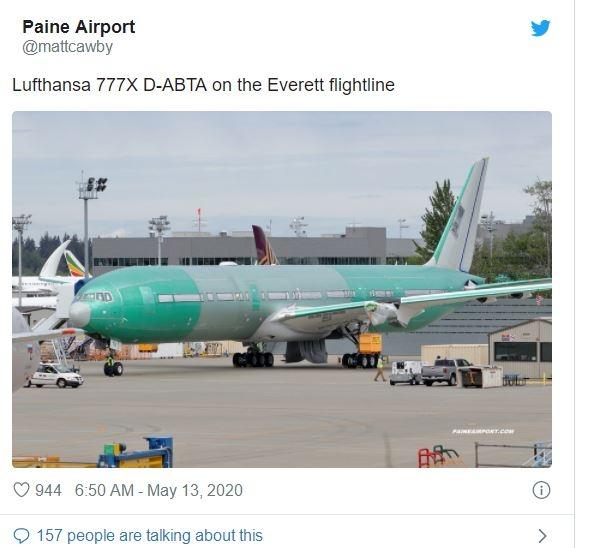 汉莎航空首架波音777X飞机亮相