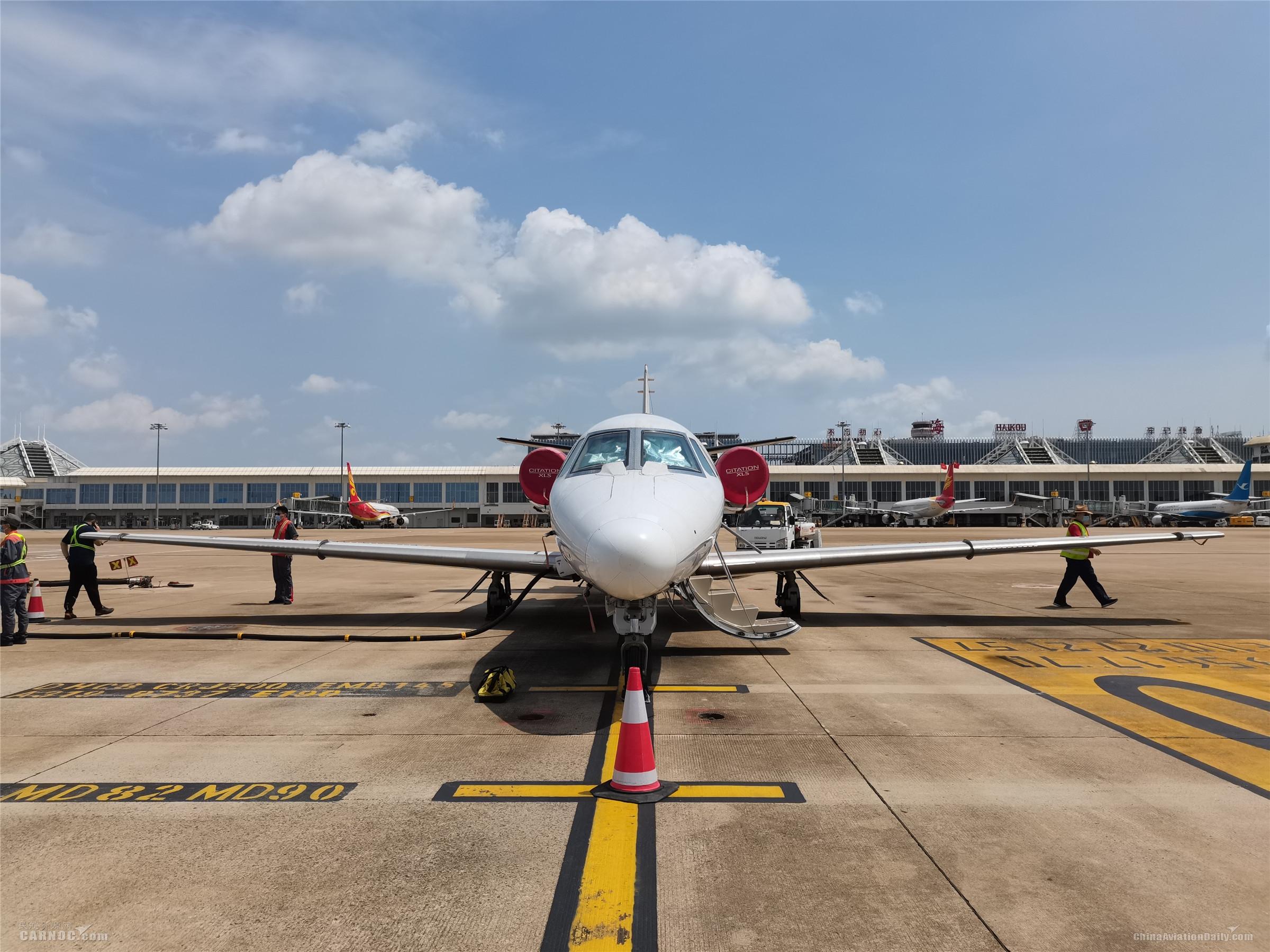 塞斯纳奖状560校飞飞机已抵达海口