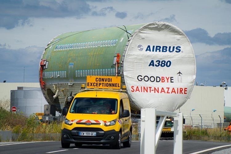视频:最后一架A380飞机机身部件运抵图卢兹