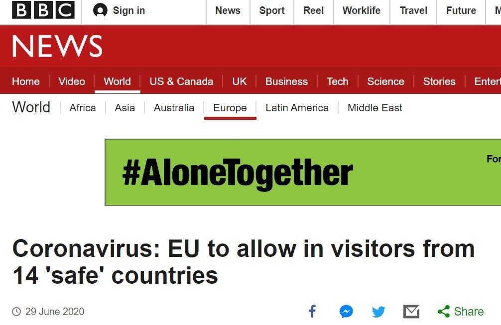 明日起欧盟拟放宽14国旅客入境 不含中国和美国