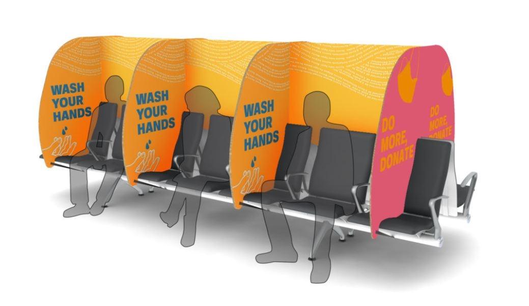 候机时如何保持社交距离?机场座椅新设计来了