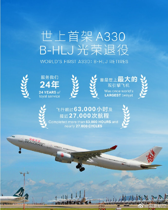 总飞行63900小时!全球首架A330退役