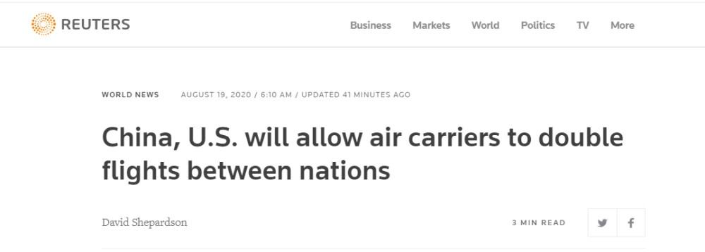 美国交通部:中美间航班数量将增加一倍