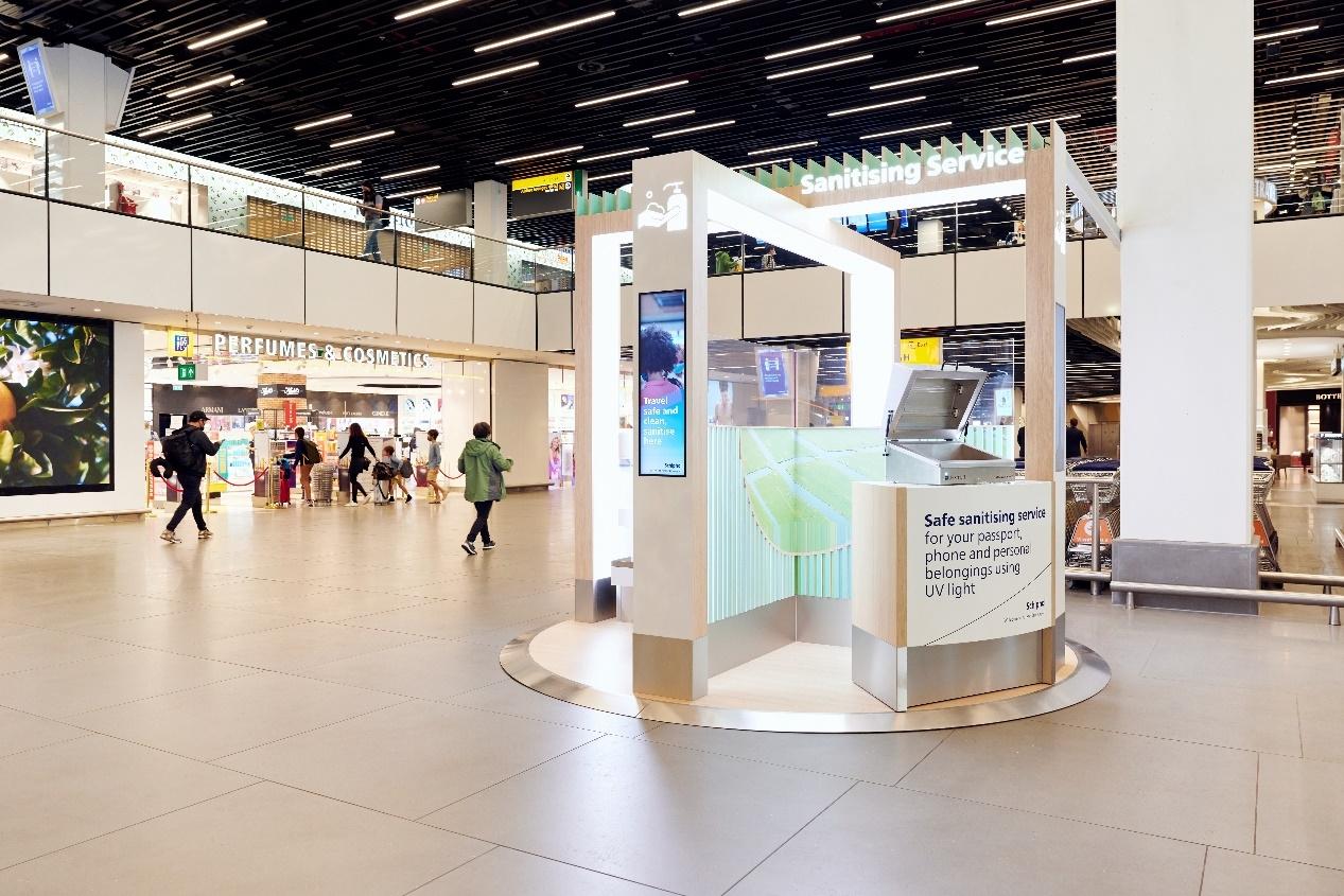 史基浦机场为旅客提供紫外线灯 方便消毒随身物品