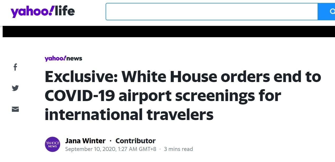 外媒:美国下周一起将不再对入境人员进行新冠筛查