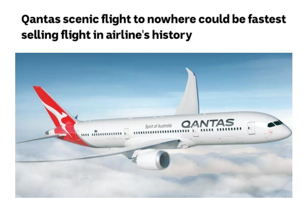 """澳航推7小时""""无目的地""""观光航班 机票10分钟被抢光"""