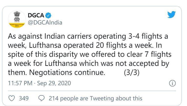 印度民航局推特