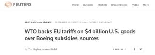 美欧贸易战再次升级!世贸组织同意欧盟向美国40亿美元商品加税