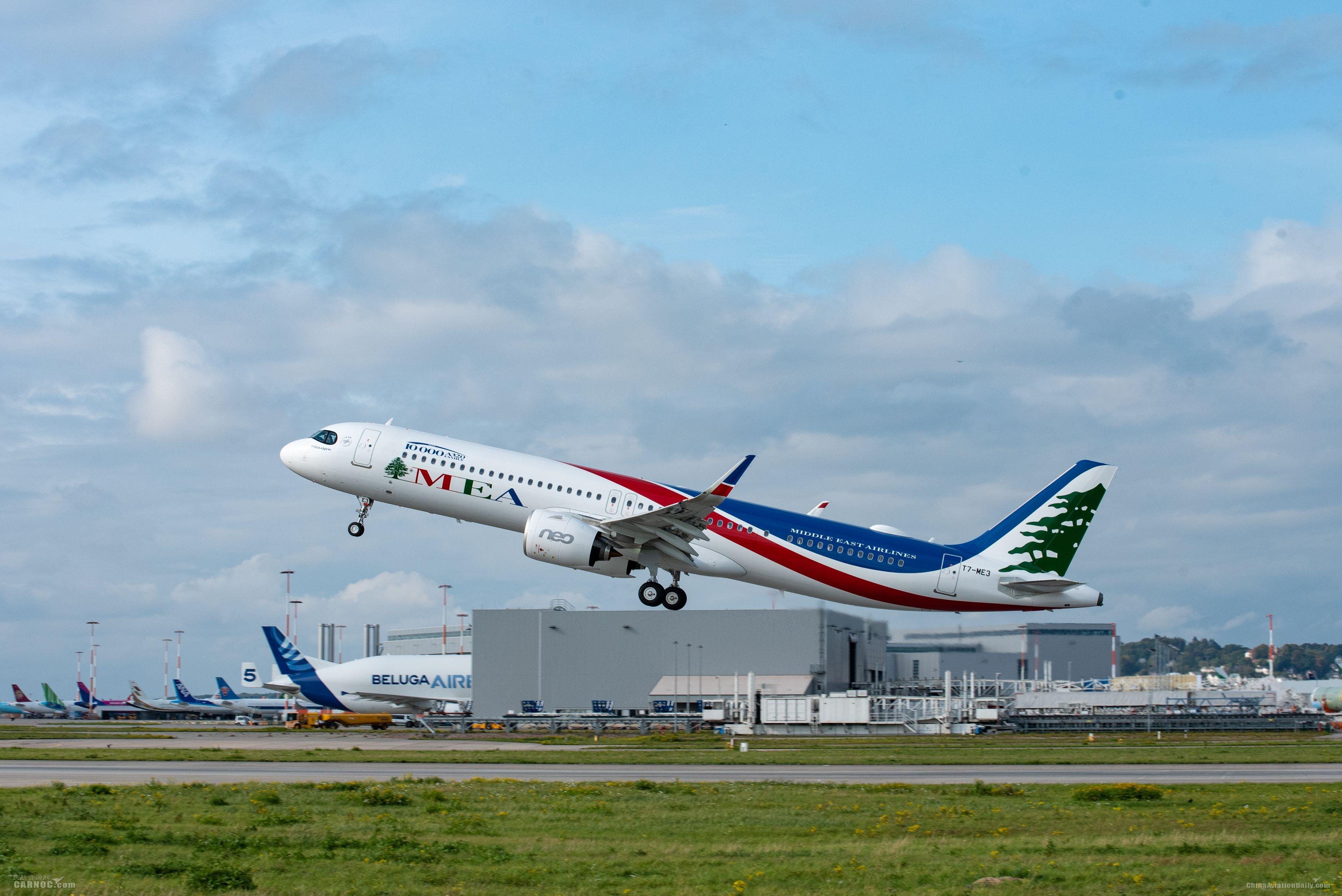 空中客车A320系列飞机MSN10000交付中东航空公司              空客供图