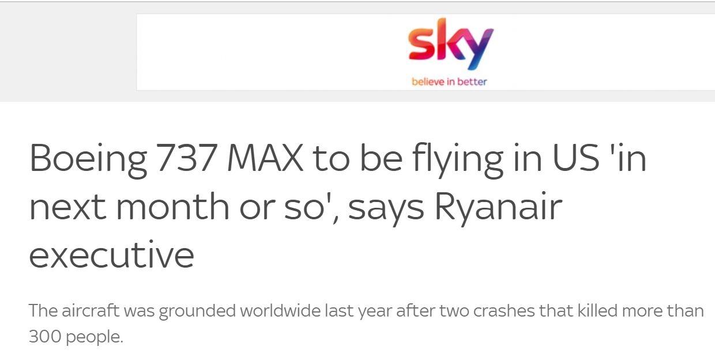 瑞安航空:737MAX下个月或将在美国恢复运营