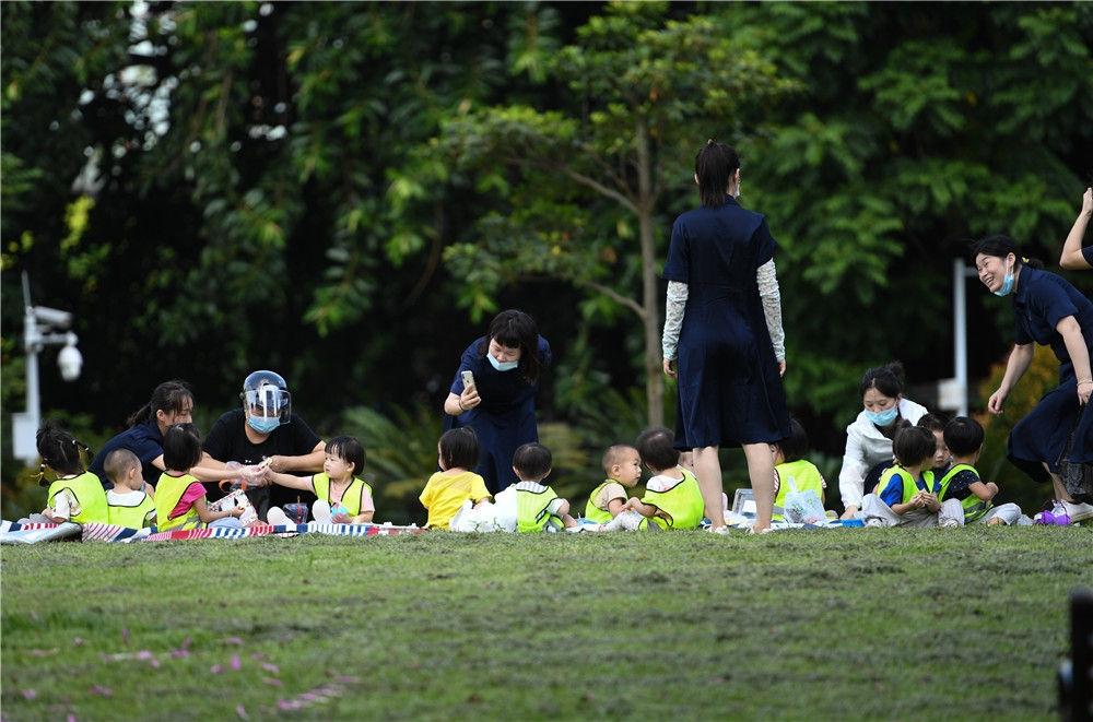 老师带着孩子在深圳福田区的荔枝公园玩耍(9月22日摄)。