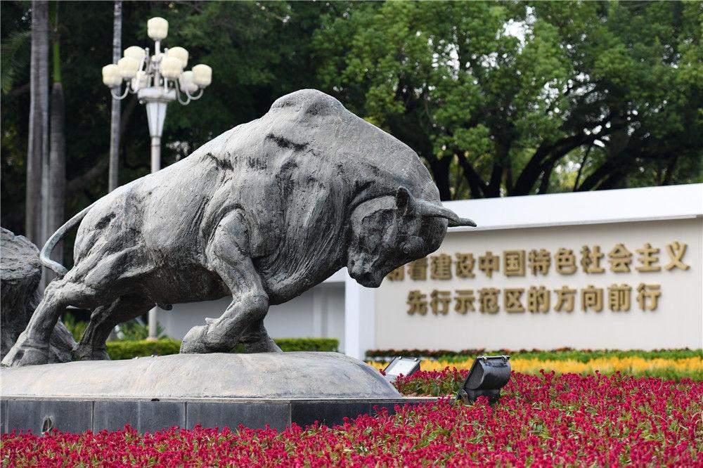 """这是深圳深南大道的""""拓荒牛""""雕像(10月12日摄)。新华社记者"""