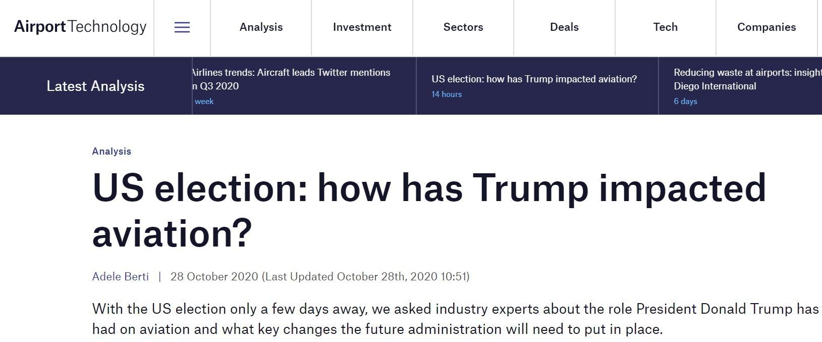 美国大选  特朗普如何影响航空业? 下一届政府该怎么做?