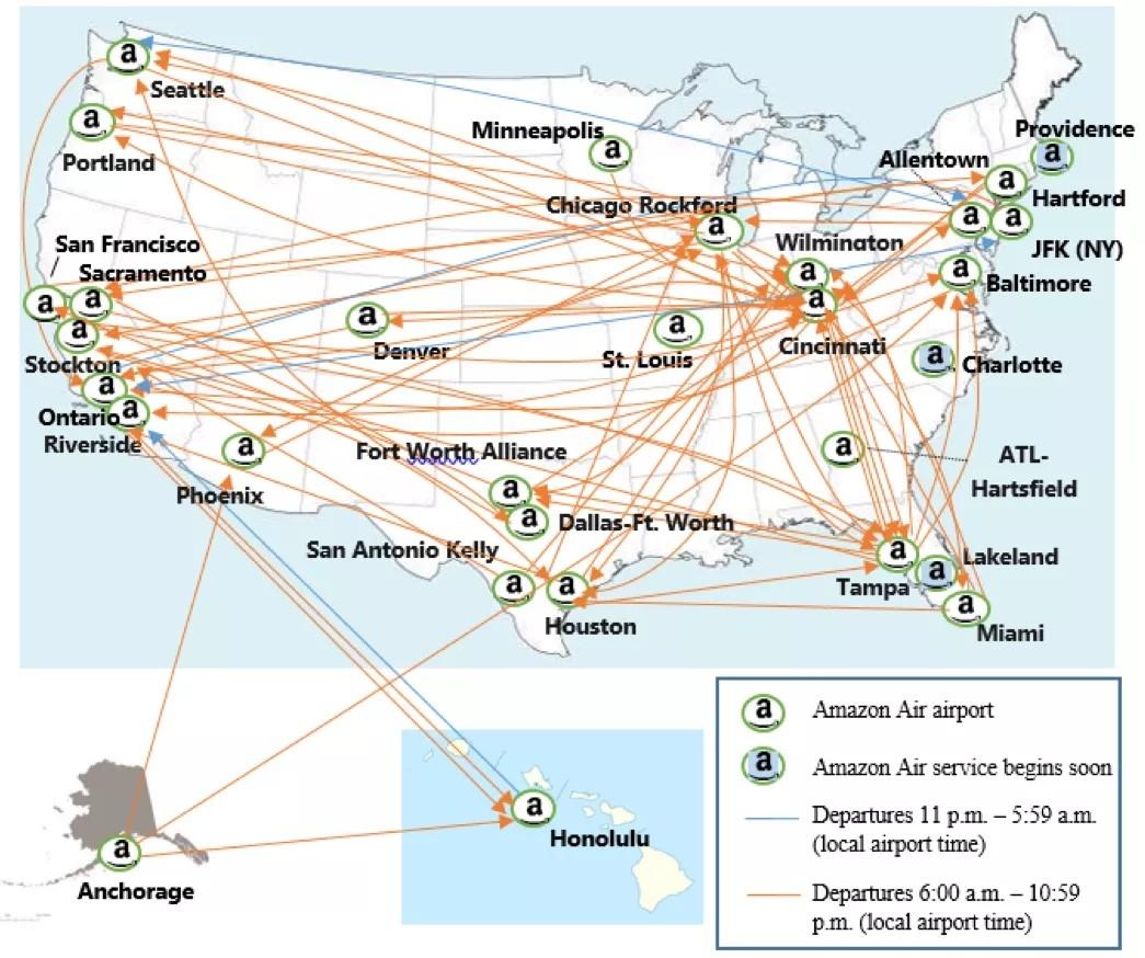 亚马逊航空航路图