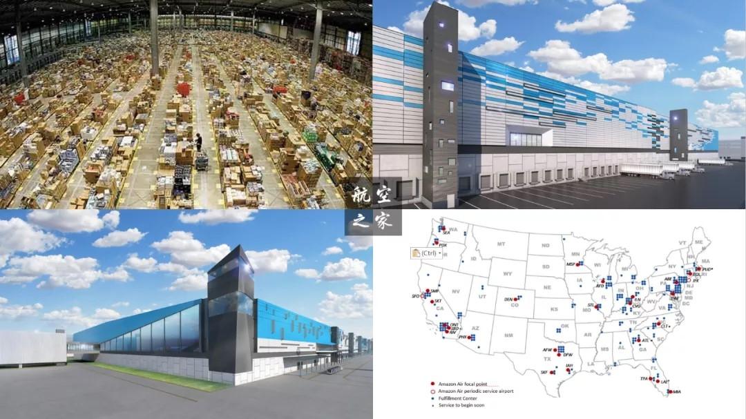 亚马逊超级分拨中心、亚马逊CVG枢纽渲染图和亚马逊航空航线图
