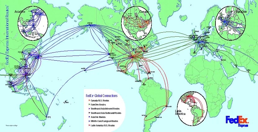 Fedex密布全球的货运航线