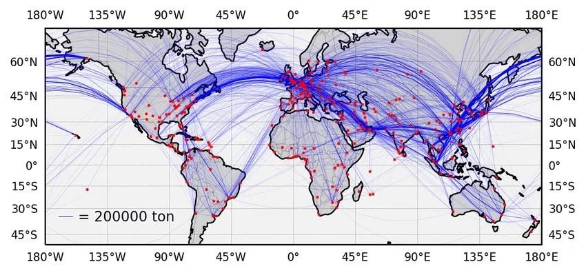 FedEx,UPS,DHL,卢森堡货航航线网络图