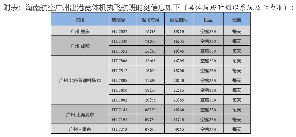 海南航空广州出港宽体机执飞航班时刻信息