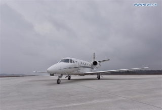 A Cessna 560 aircraft does a calibration flight at the Chengdu Tianfu International Airport in Chengdu, capital of southwest China's Sichuan Province, Nov. 3, 2020. The calibration flight will last for about 30 days. (Xinhua/Liu Kun)