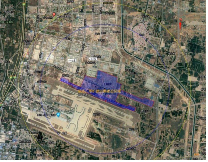 工程建设区域以及周围4km区域范围图