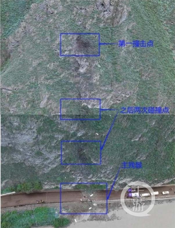 直升机撞山及跌落位置示意图。图片来源/事故调查报告