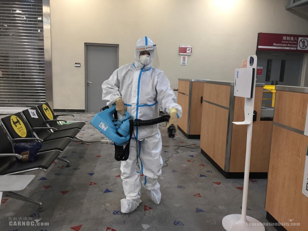 澳门机场配合接载澳门居民返澳航班特别检疫行动