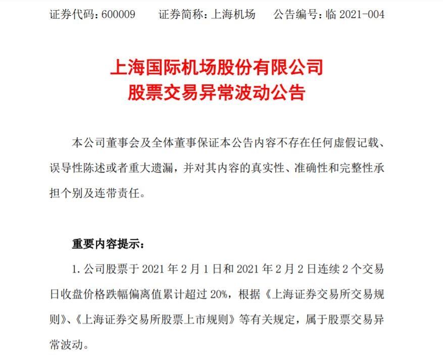 连续2日跌停 上海机场:不存在应披露而未披露重大事项