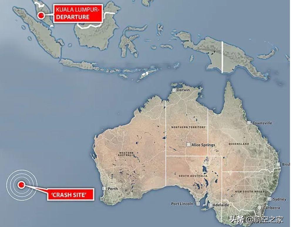 图、具体方位距离西澳大利亚首府珀斯外海岸约2070公里,而坠机地点距离估算的坐标范围100海里内