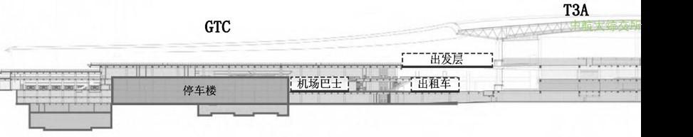 重庆江北机场陆侧车道边布局剖面图