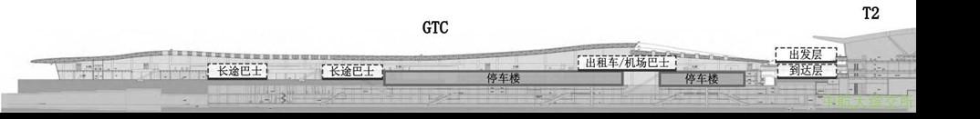 郑州新郑机场陆侧车道边布局剖面图