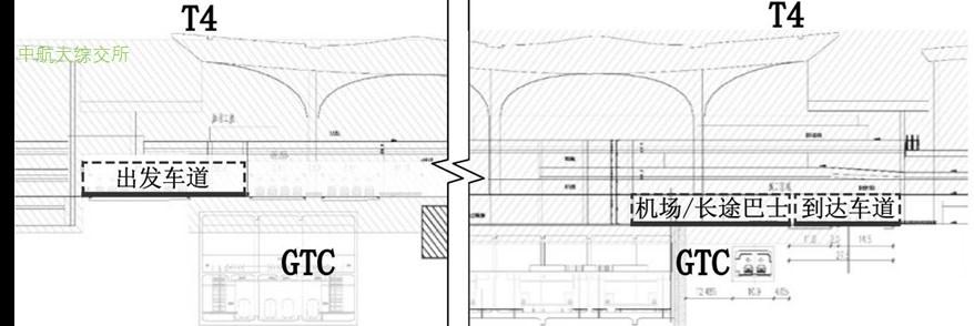杭州萧山机场陆侧车道边布局剖面图