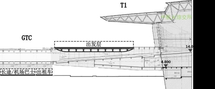 成都天府机场陆侧车道边布局剖面图