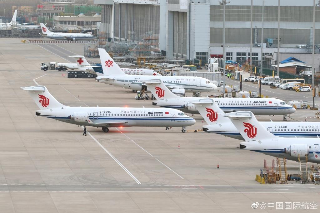 图片:4架国航ARJ21客机同框