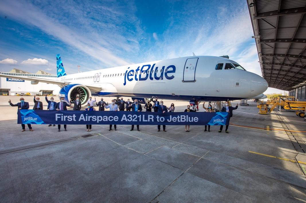 捷蓝航空接收首架空客A321LR (1)